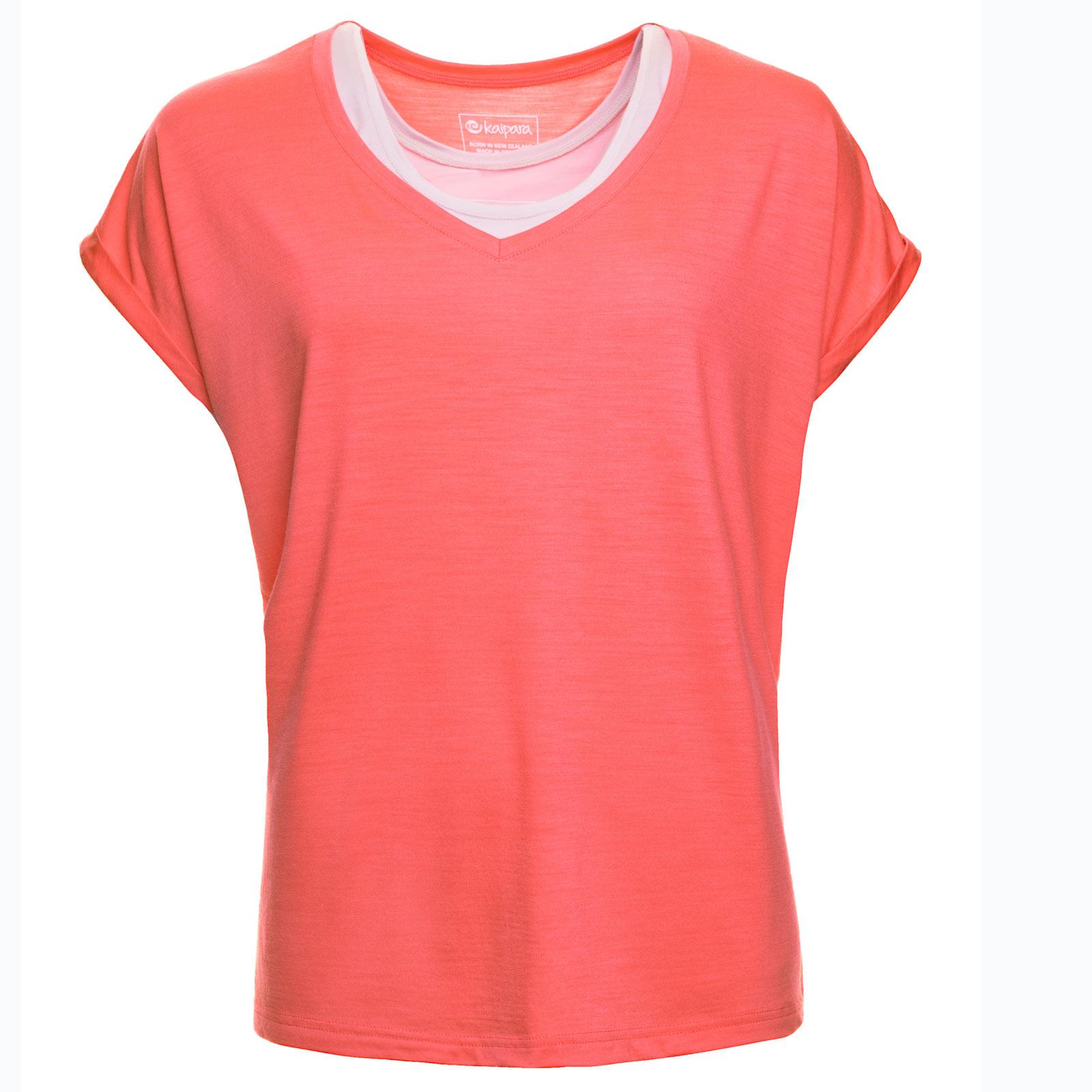 URBAN LIMITED Merino Shirt Damen Kurzarm Oversized V-Neck 200 Coral XS
