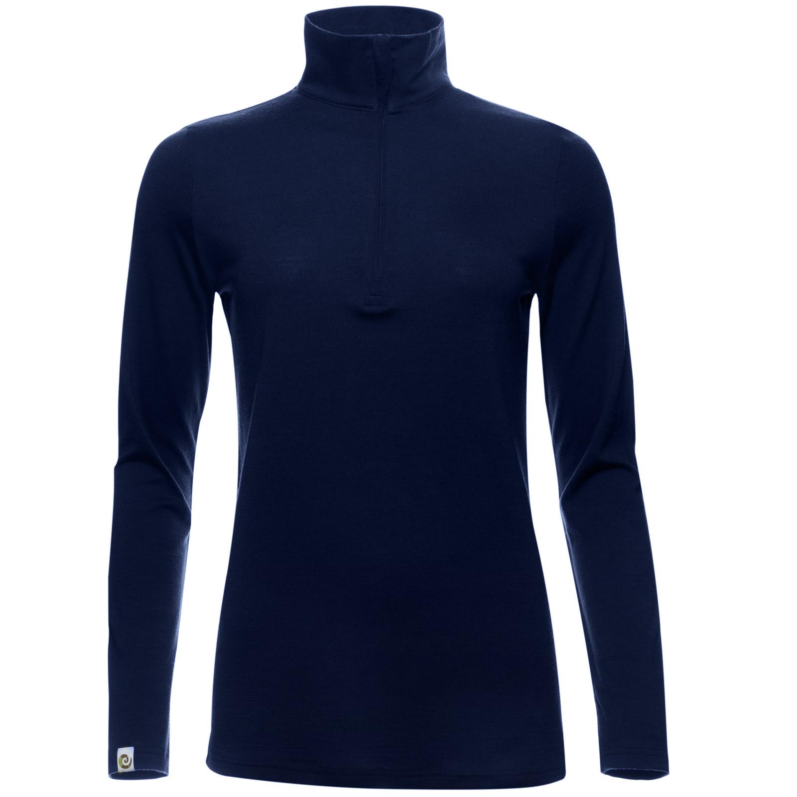 Merino Zip-Neck Damen Regular 200 Blau S