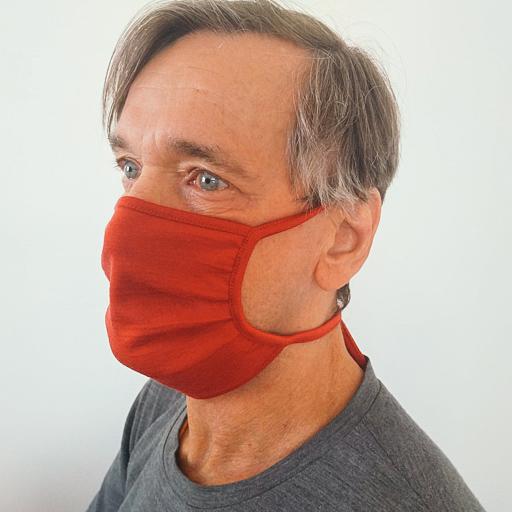 Merino Behelfs- Mund- und Nasenmaske Cherry Red Onesize