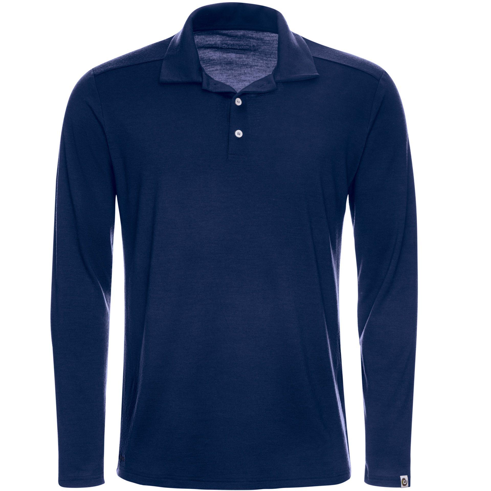 Merino Poloshirt Langarm Herren Regular 200 Blau / XXL
