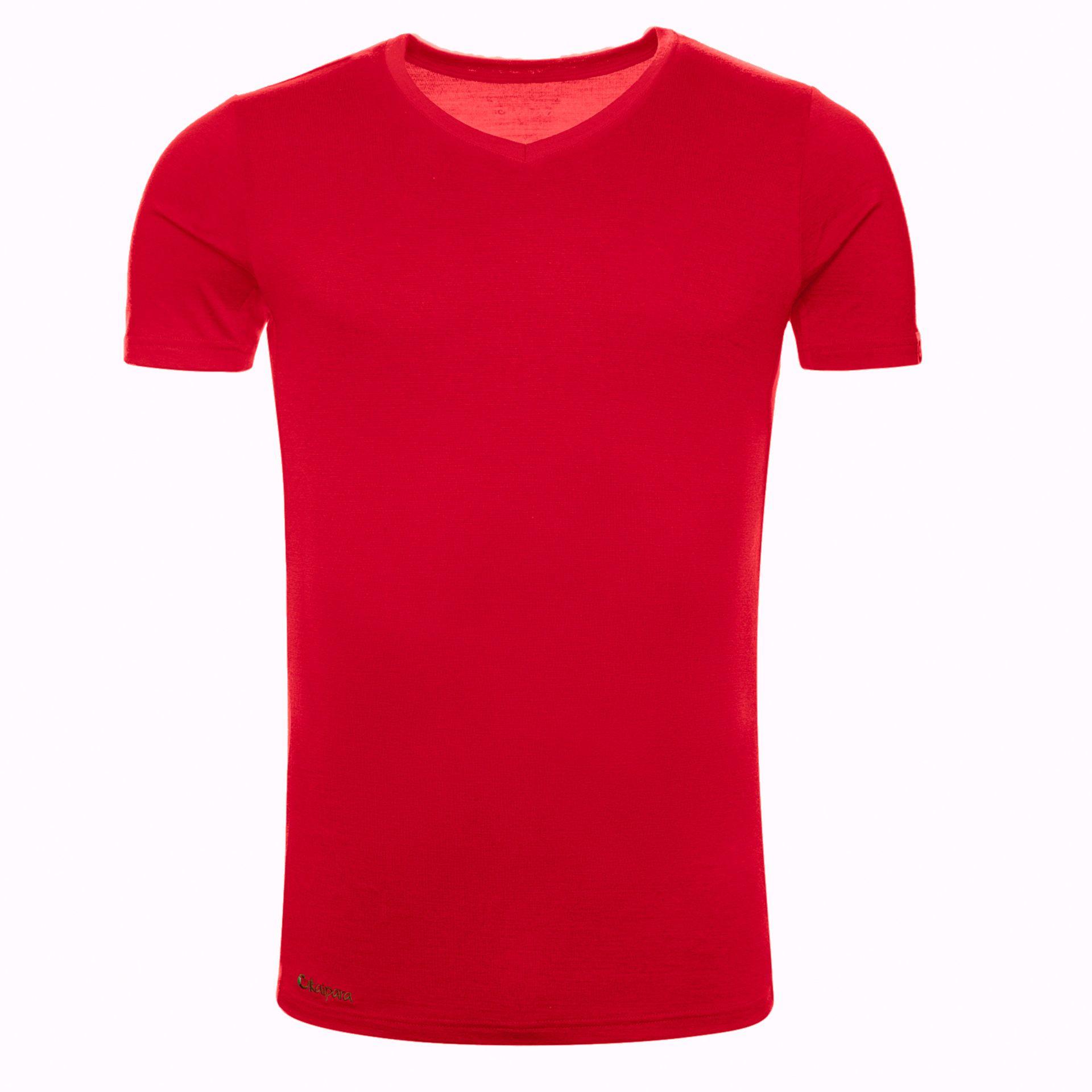 Merino Shirt Herren Kurzarm Slimfit V-Neck 200 Cherry Red / L
