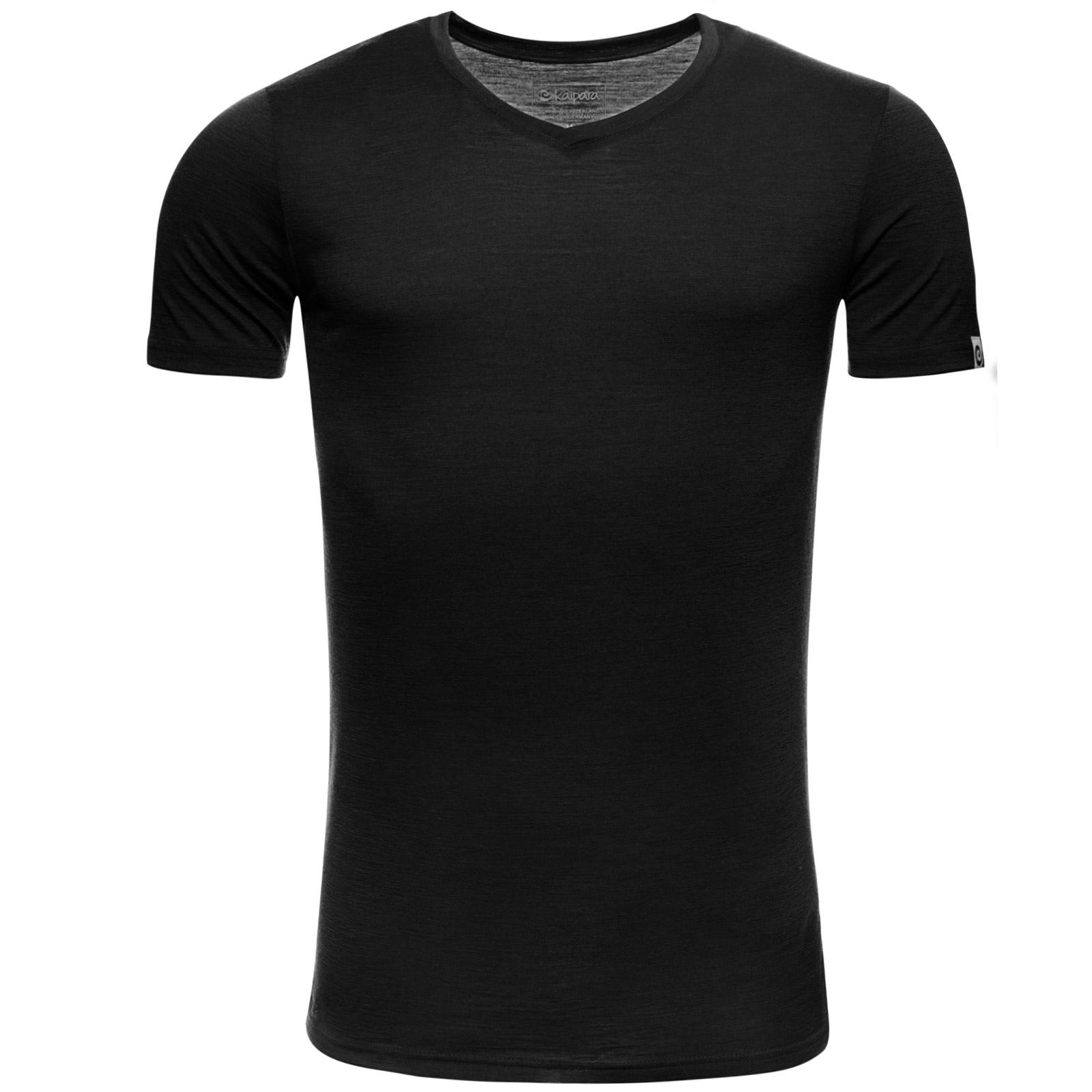 Merino Shirt Herren Kurzarm Slimfit V-Neck 150 Schwarz M