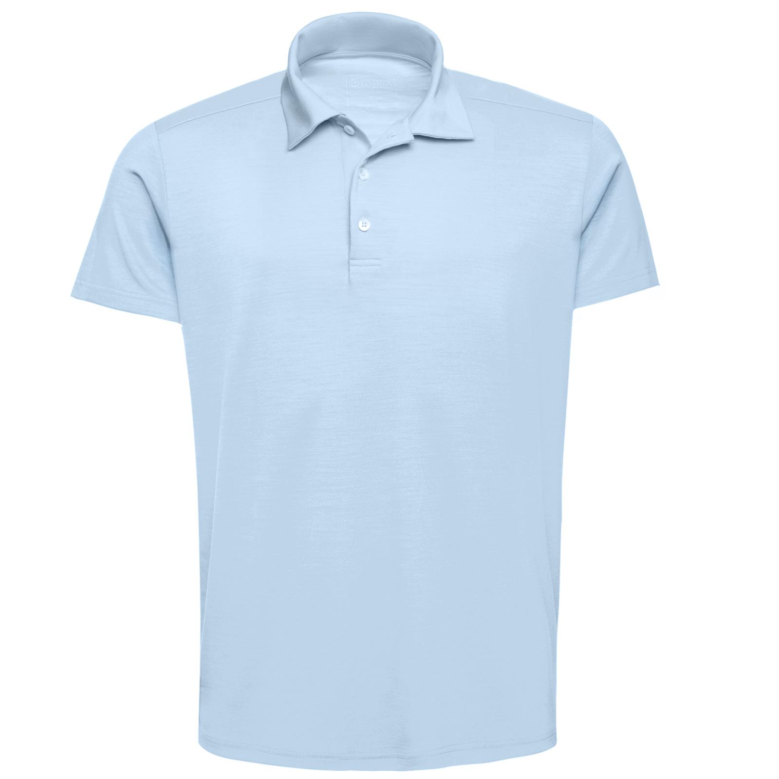 URBAN LIMITED Merino Poloshirt Herren Kurzarm Regular 200 Crystal-Blue L
