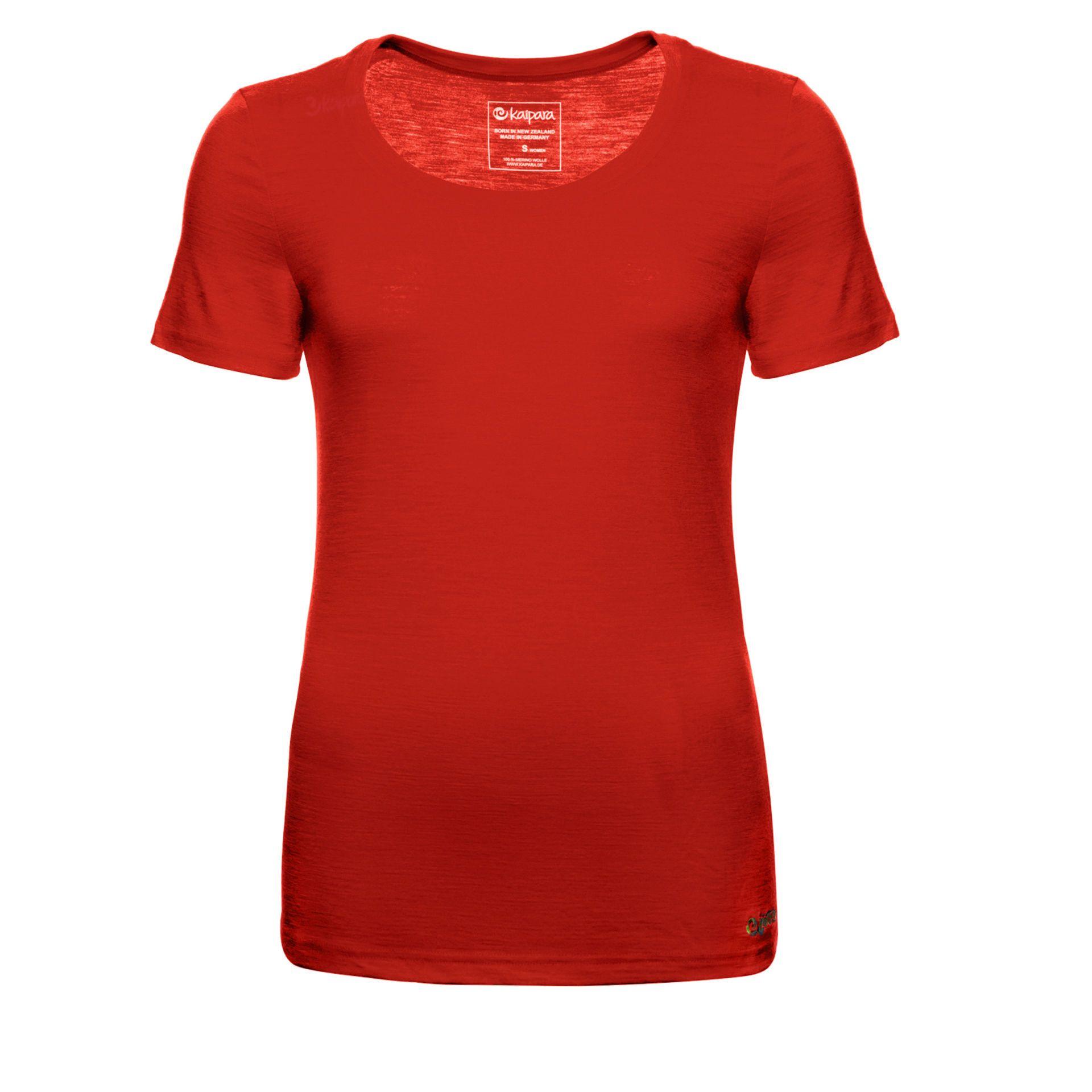 Merino Shirt Damen Kurzarm Slimfit 150 Cherry Red / M