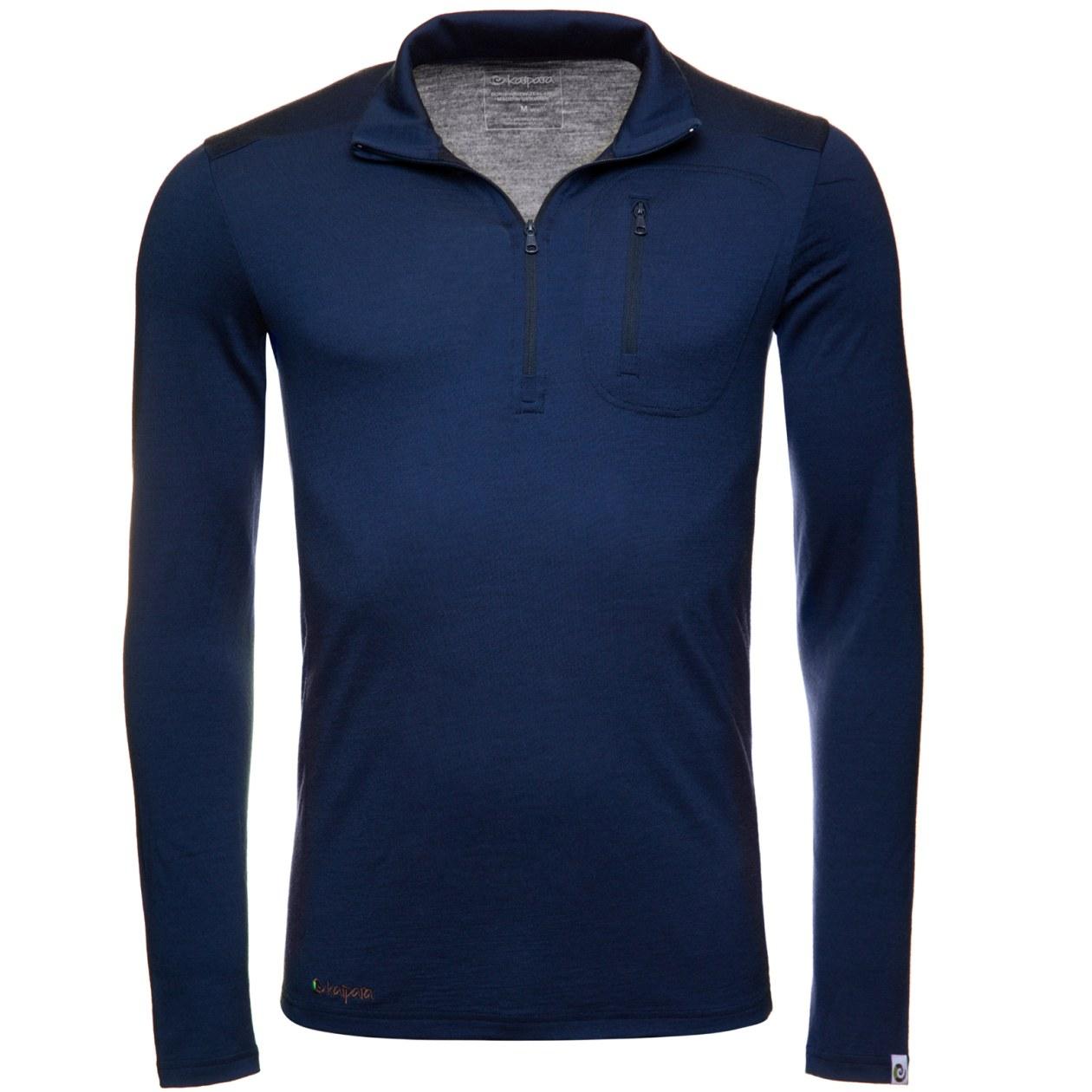 Merino Zip-Neck Herren Slimfit 200 mit Brusttasche Blau / S