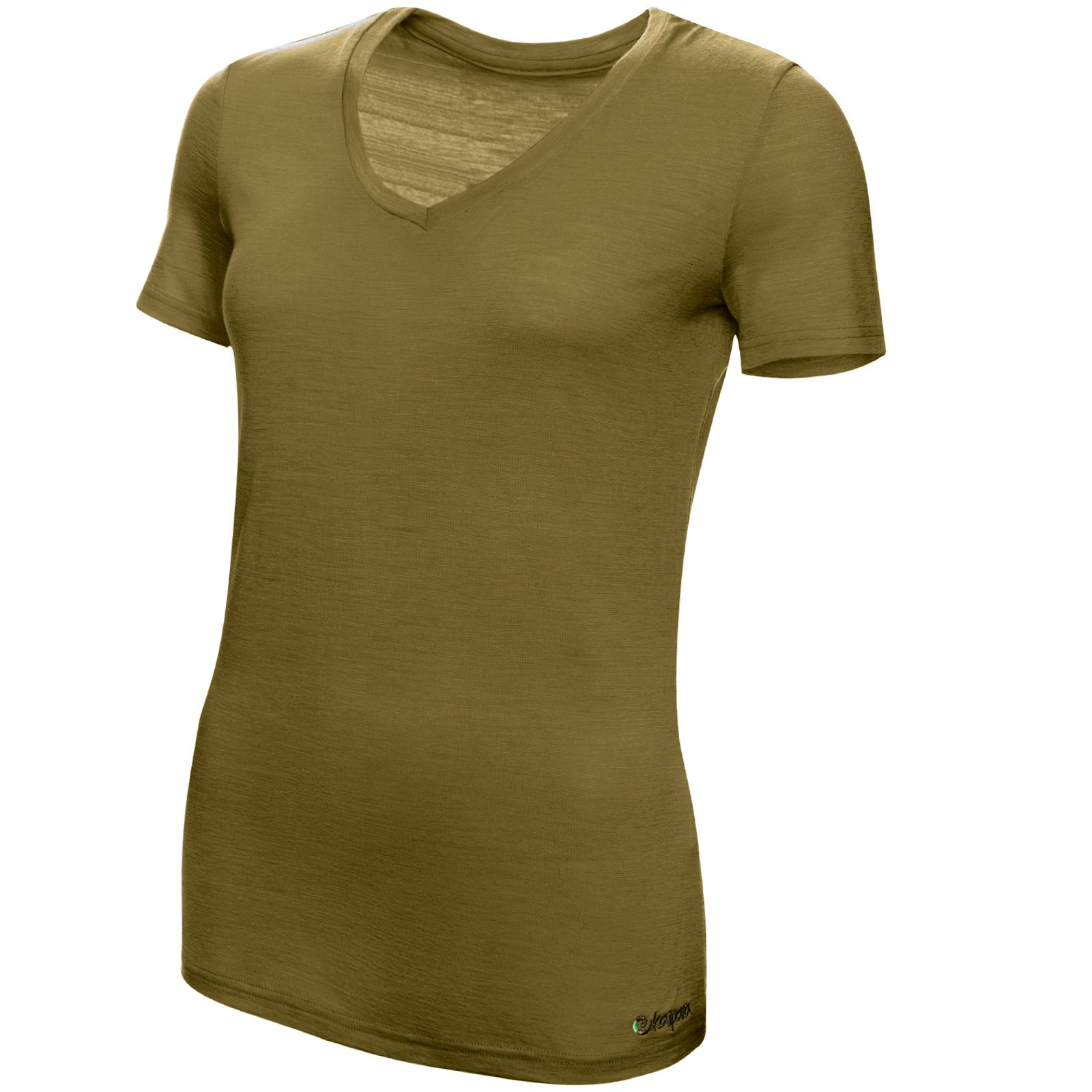 Merino Shirt Damen Kurzarm Slimfit V-Neck 150