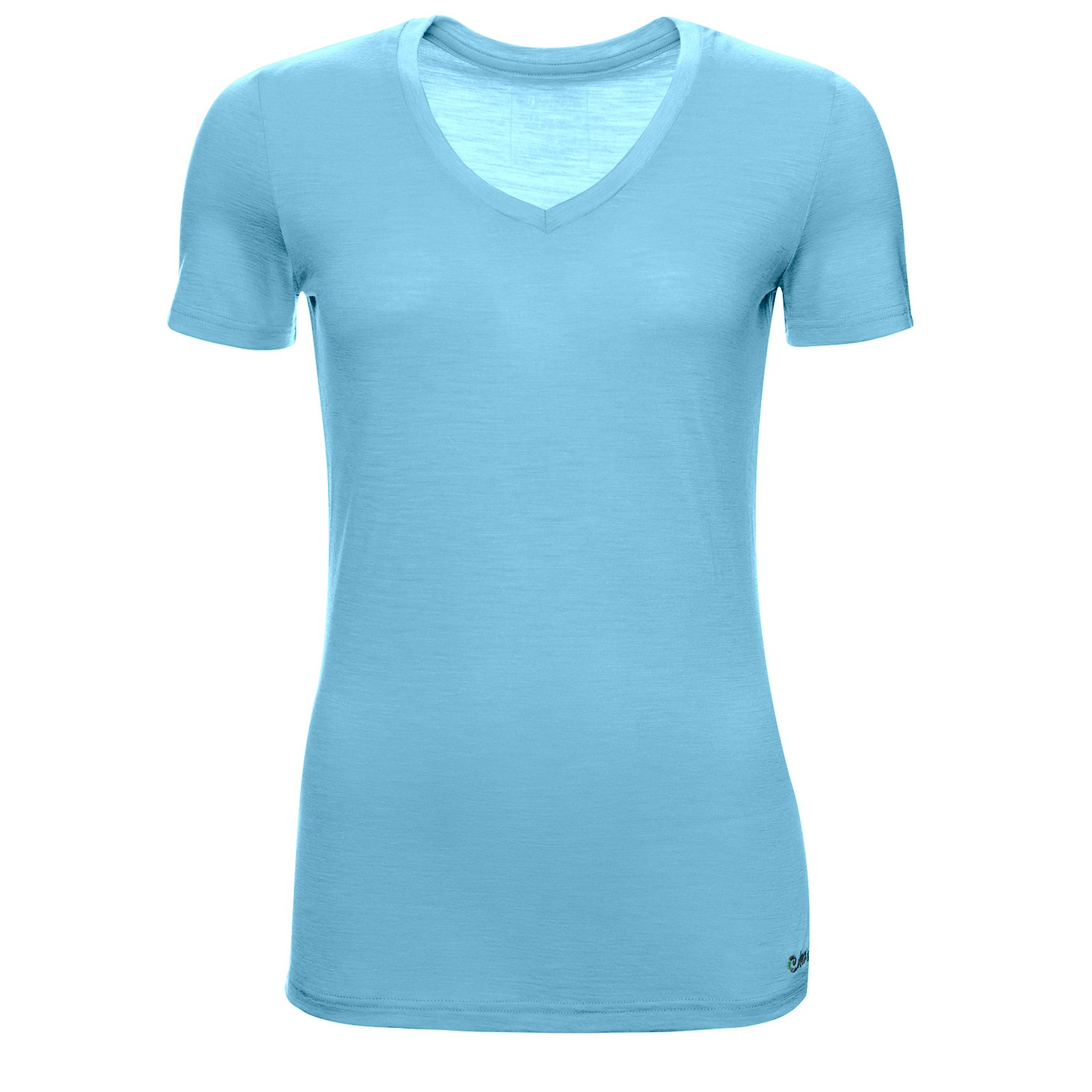 Merino Shirt Damen Kurzarm Slimfit V-Neck 150 Ocean M