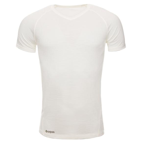 Merino Shirt Herren Kurzarm Slimfit V-Neck Raglan 150 Off-White / XL