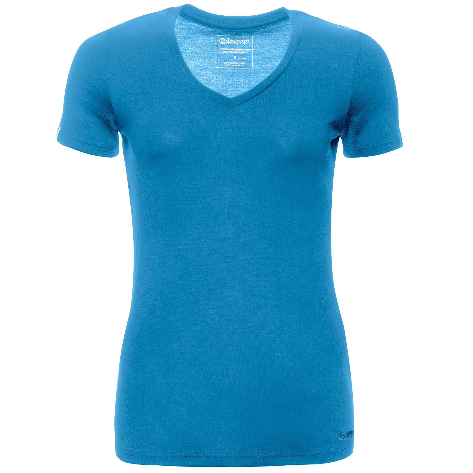 Merino Shirt Damen Kurzarm Slimfit V-Neck 200 Petrol XS