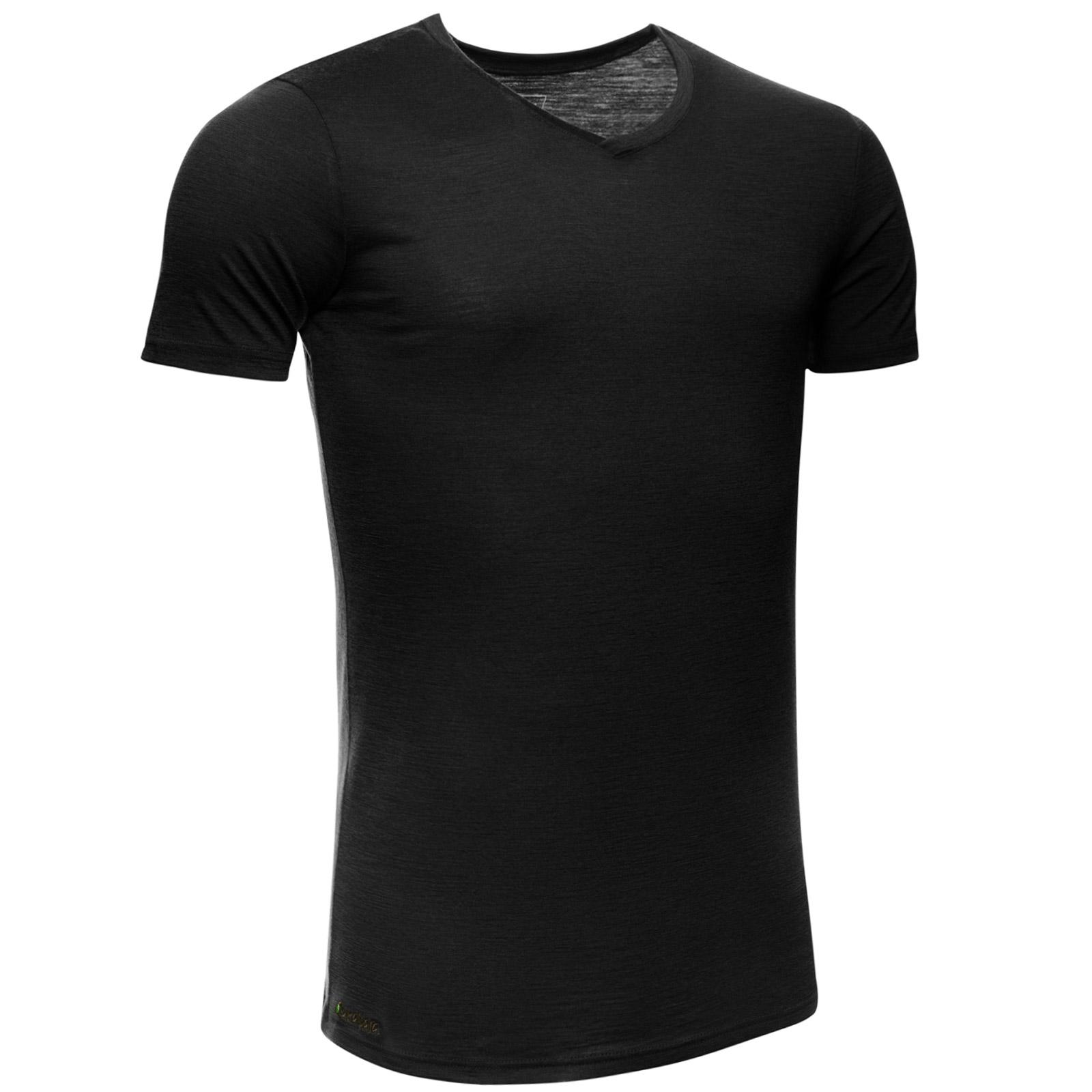 Merino Shirt Herren Kurzarm Slimfit V-Neck 150