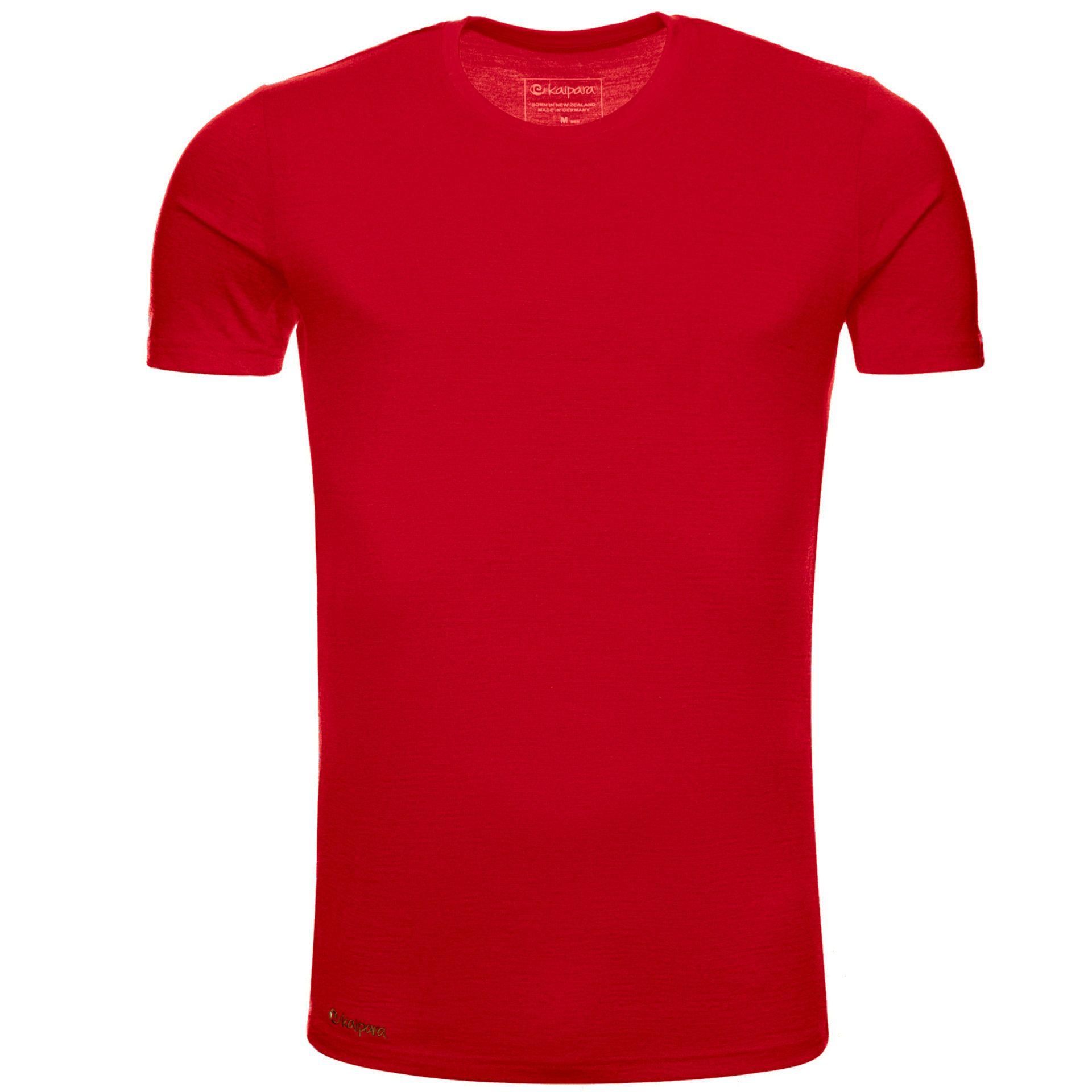 Merino Shirt Herren Kurzarm Slimfit 200 Cherry Red / XXL