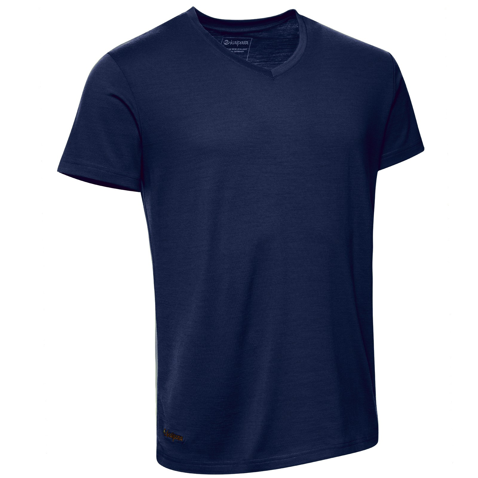 Merino Shirt Herren Kurzarm Regularfit V-Neck 200 Blau XL