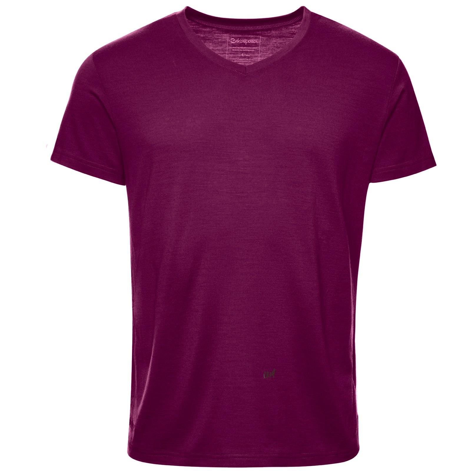 Merino Shirt Herren Kurzarm Regularfit V-Neck 150 Mulberry M