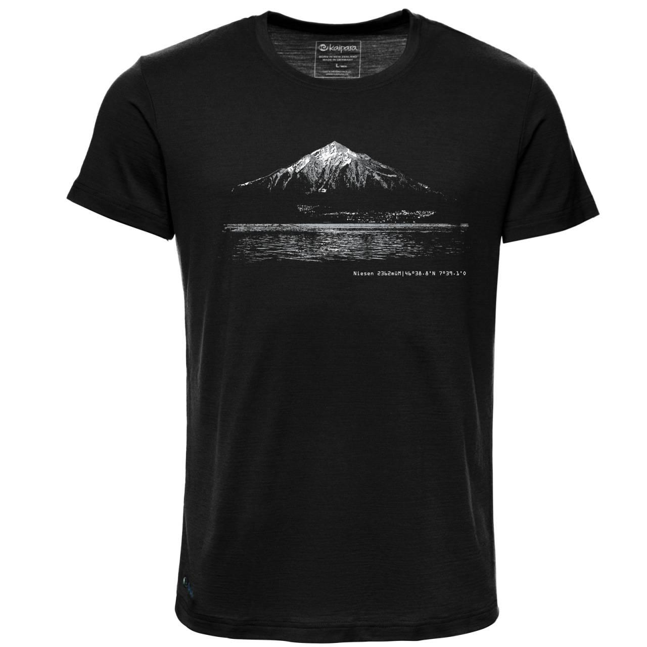 Merino Shirt Herren Kurzarm Regularfit 150 Schwarz / XXL