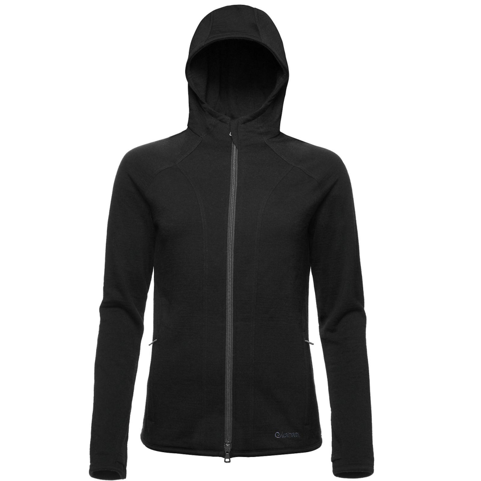 Merino Hoody Sweat Jacke Damen 270 Schwarz / M