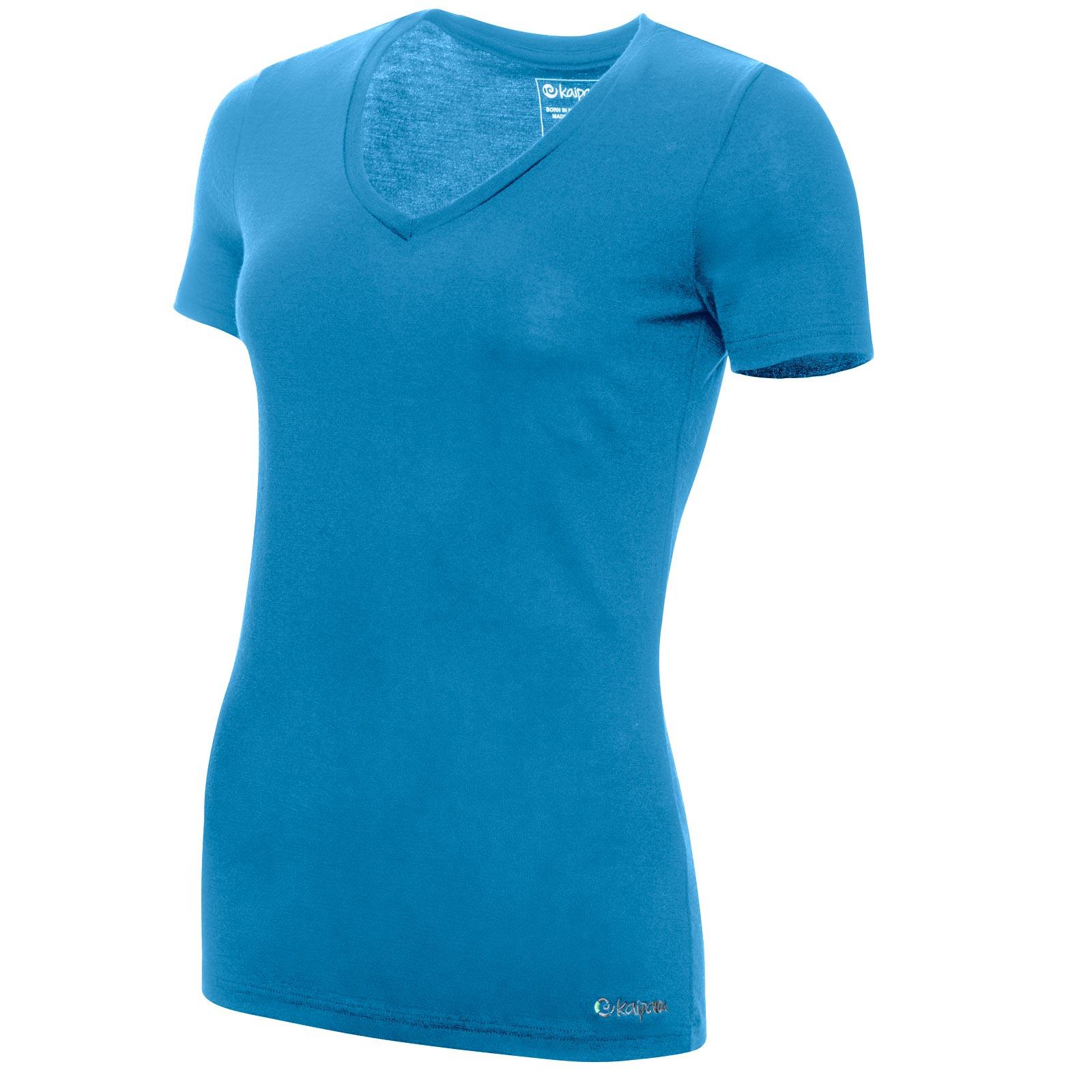 Merino Shirt Damen Kurzarm Slimfit V-Neck 200 Petrol M