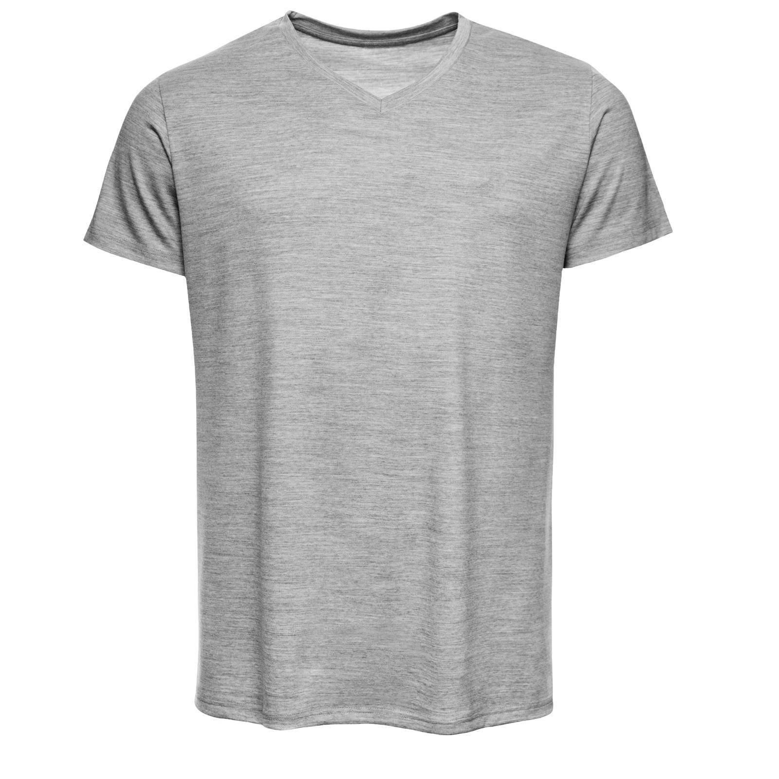URBAN LIMITED Merino Shirt Herren Regular V-Neck 200 Grau-Melange XXL